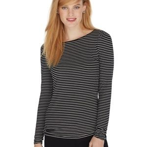WHBM Long Sleeve Black & White Stripe Tee- Size S